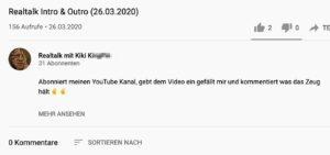Realtalk mit Kiki K.: Zum Schluss 31 Abonnenten und 0 Kommentare