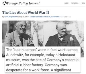 """Holocaustleugnung von Paul Craig Roberts: Auschwitz war ein """"Arbeitslager"""""""