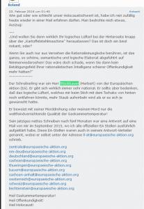 """Naziverherrlicher """"Roland"""" über Stückbauer von der EA"""