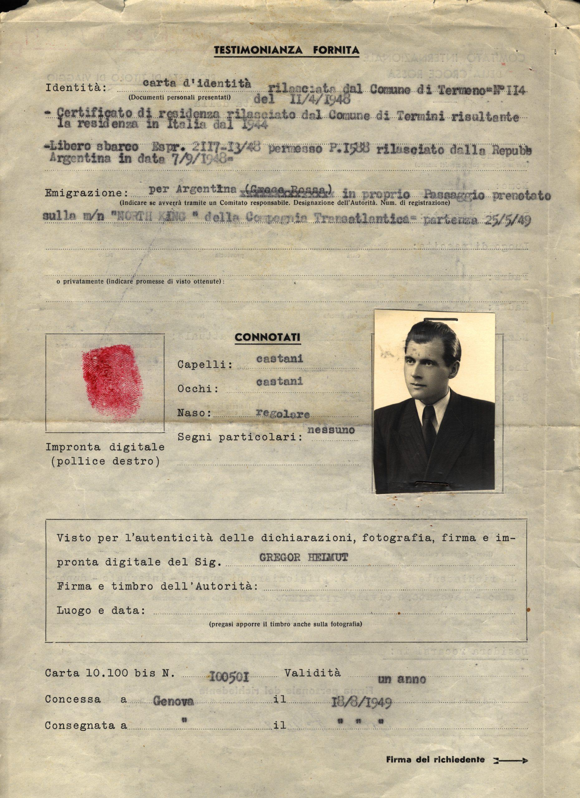 Reisedokument des Roten Kreuzes für Josef Mengele unter dem falsche Namen Helmut Gregor (1949: © avarchives.icrc.org)