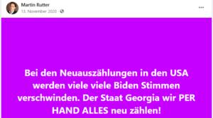 Rutter: viele Biden Stimmen werden bei Neuauszählungen verschwinden