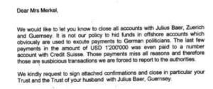 Rutter: Merkel und die Bank Julius Bär
