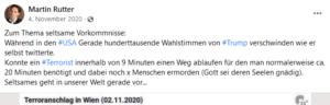 """Rutter 2020: """"seltsame Vorkommnisse"""" beim Terroranschlag in Wien"""