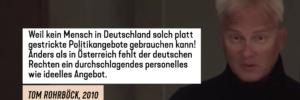 """STRG_F zitiert Rohrböck: """"Weil kein Mensch in Deutschland solch platt gestrickte Politikangebote gebrauchen kann! Anders als in Österreich fehlt der deutschen Rechten ein durchschlagendes personelles wie ideelles Angebot."""" (Quelle: Screenshot STRG_F)"""