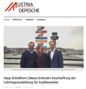 Schellhorn, Adler und Saß in der Austria Depesche