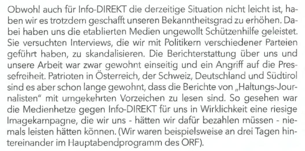 """Scharfmüller über den Nebeneffekt von Skandalinterviews: """"So gesehen war die Medienhetze gegen Info-DIREKT für uns in Wirklichkeit eine riesige Imagekampagne"""""""