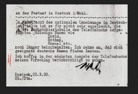 """Brief Joh. Schliemanns an das Postamt von Rostock von 1933, in dem die """"Arisierung"""" des Telefonalphabets gefordert wird. (Wikipedia)"""