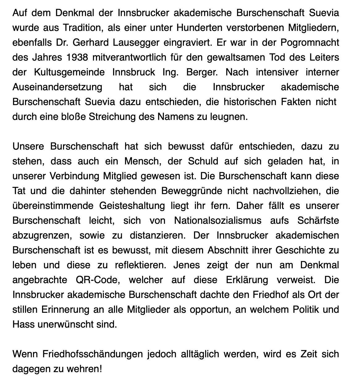 """Text zum """"Schwabendenkmal"""" der Suevia"""