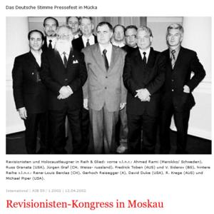 Holocaustleugner Reisegger, Duke und Co in Moskau 2002 (Screenshot Antifa-Infoblatt)