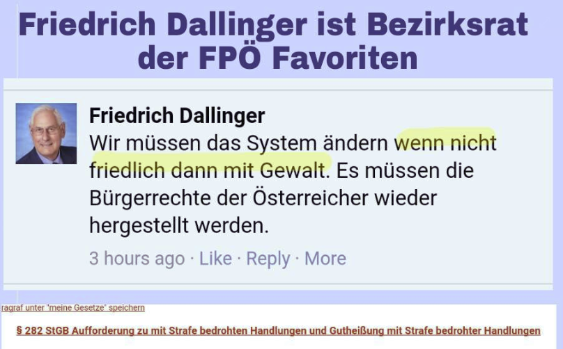 FPÖ-Fails sieht in dem Posting von Friedrich Dallinger, Bezirksrat FPÖ Favoriten, einen möglichen verstoß gegen § 282 StGB - Aufforderung zu mit Strafe bedrohten Handlungen und Gutheißung mit Strafe bedrohter Handlungen