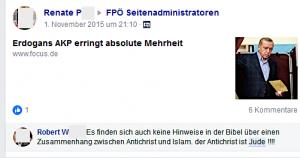 """Antisemitismus als Antwort auf ein Posting der Gruppenadministratorin Renate P.: """"Der Antichrist ist Jude !!!!"""""""