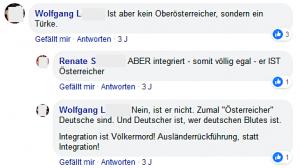 """Wolfgang L. über Efgani Dönmez: """"Nein ist er nicht [gemeint: Österreicher]. Zumal 'Österreicher Deutsche sind. Und Deutscher ist, wer deutschen Blutes ist. Integration ist Völkermord! Ausländerrückführung, statt Integration!"""""""