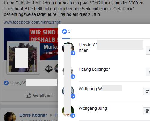 """Wenn Markus Ripfl die Patrioten aus der Gruppe """"FPÖ Seitenadminitratoren"""" um Likes für seine FB-Seite bittet, gefällt das u.a. dem FPÖ-Bezirksrat Helwig Leibinger und dem damaligen FPÖ-Gemeinderat Wolfgnag Jung"""