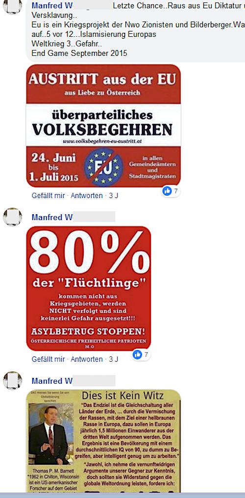 """Antisemitismus von Manfred W.: """"Nwo Zionisten, Bilderberger ..."""""""