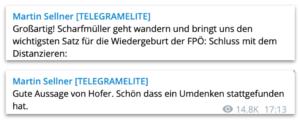 """Sellner: """"Großartig"""" zu Schnedlitz und """"Gute Aussage von Hofer"""""""