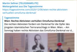 """Sellner und die mittlerweile zu """"Freilich"""" gehörende identitäre """"Tagesstimme"""" propagieren identitäre Denkmalschändung am """"Platz der Menschenrechte"""""""