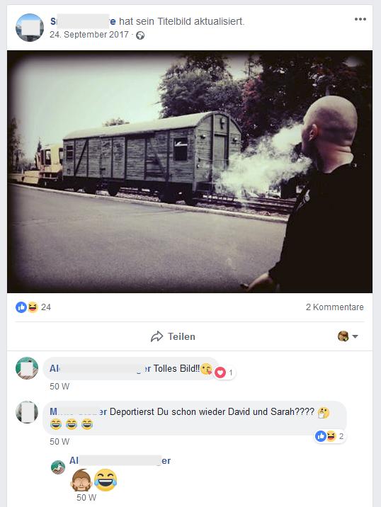 """Antisemitismus (Screenshot Facebook S.D.): """"Deportierst Du schon wieder David und Sarah????"""""""