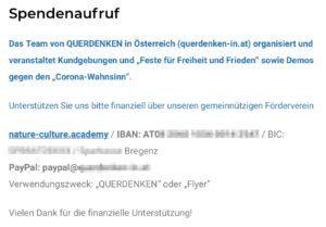 """Spendenaufruf für """"Querdenken"""" an die """"nature-culture.academy"""""""