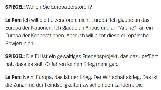 """Der Spiegel: Marine Le Pen, 2.6.2014: """"Ich will die EU zerstören"""""""
