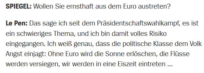 Der Spiegel: Marine Le Pen, 2.6.2014 zum Austritt aus dem Euro