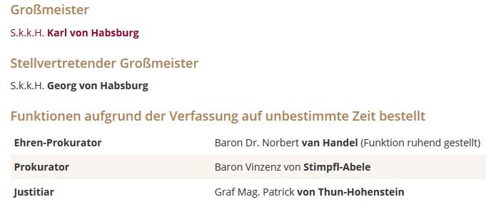 St. Georgs-Orden: Funktion ds Ehren-Prokurator Handel ruhend gestellt