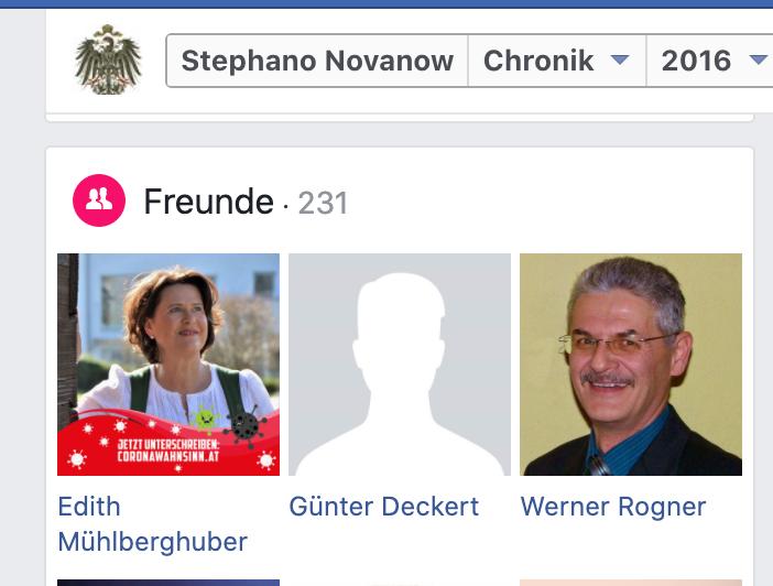Facebook-Freunde St.S.: FPÖ-NR-Abg. Edith Mühlberghuber und GF FPÖ Baden Werner Rogner