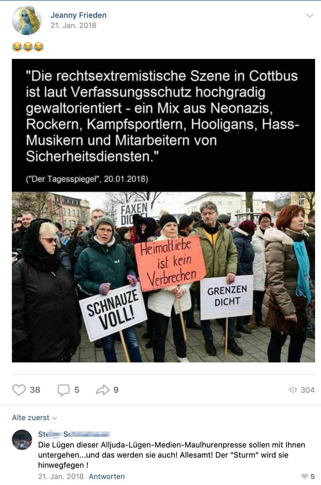 """St.S.: """"Alljuda-Lügen-Medien-Maulhurenpresse"""""""