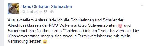 Nach dem Urteil gings gleich weiter: Der FPÖ-Stadtrat lud die Abschlussklassen der NMS Völkermarkt/Velikovec zum Schweinsbraten...