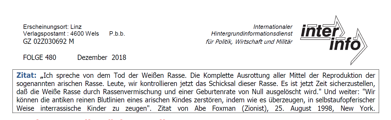 """Antisemitismus in """"inter info"""": gefälschtes Zitat"""