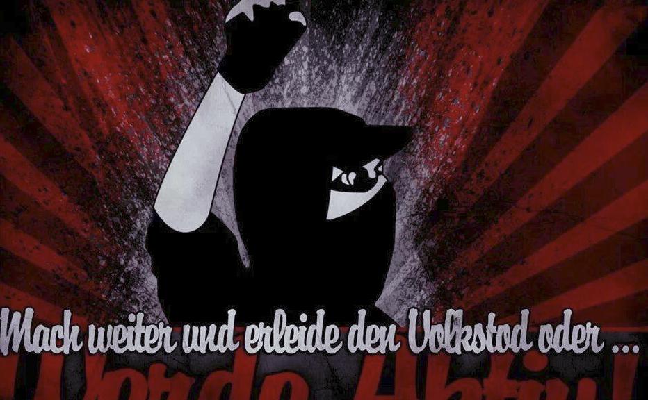 """Sten E. FB-Posting, Bild: """"Mach weiter und erleide den Volkstod oder ..."""""""