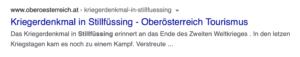 SS-Grab Stillfüssing in einem erst kürzlich gelöschten Eintrag in Oberösterreich Tourismus