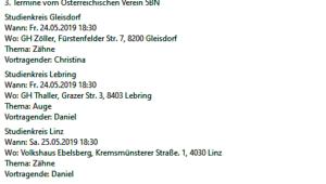 """Termine des Verein """"5 BN"""": Stoica zum Thema """"Auge"""" und """"Zähne"""""""