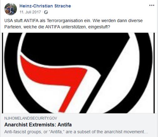 Straches Fakemeldung über (nicht vorhandene) Einstufung der Antifa als Terrororganisation