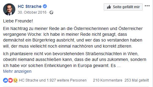 """Strache spricht vom drohenden """"Bürgerkrieg"""""""