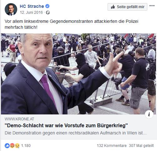 """Strache: Wien wie Vorstufe zum """"Bürgerkrieg"""""""