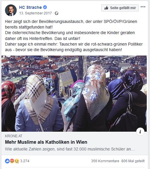 """Strache spricht vom """"Bevölkerungsaustausch"""""""