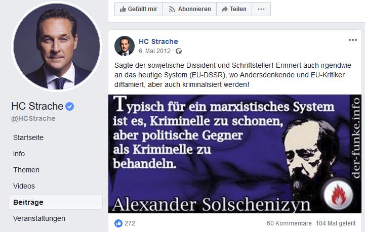 "Strache: Übernahme aus ""Der Funke""; ""EU-DSSR"""