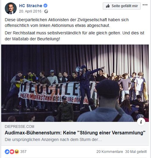 """Strache: Identitäre als """"überparteiliche Zivilgesellschaft"""" (Screenshot Facebook)"""