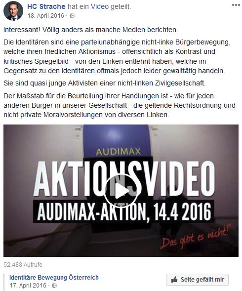 """Strache teilt Identitäre: """"nicht-linke Bürgerbewegung"""", """"nicht-linke Zivilegesellschaft"""" (Screenshot Facebook)"""