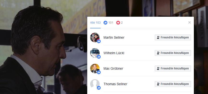 Likes von Sellners für Strache/Legat/Kunasek (Screenshot Facebook)