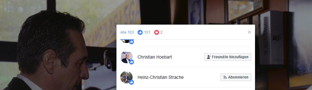 Like von Höbart und Strache (!) für Strache/Legat/Kunasek (Screenshot Facebook)