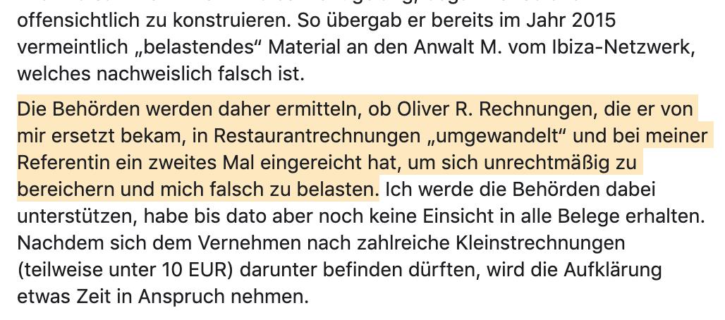 """Strache-Posting 28.11.19: """"Rechnungen umgewandelt"""""""