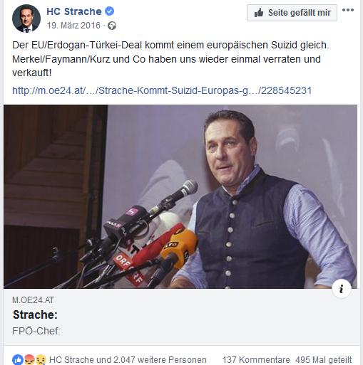 """Strache: """"Suizid Europas"""" + """"Bürgerkrieg"""""""