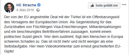 "Strache: ""politischer Suizid"" der EU"