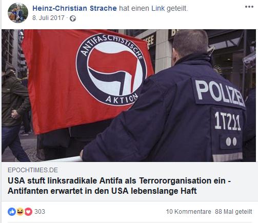 """Straches Fakemeldung von """"epochtimes"""" über (nicht vorhandene) Einstufung der Antifa als Terrororganisation (2017)"""
