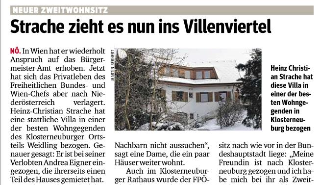Strache zieht in eine Villa in Klosterneuburg (Kurier 30.3.2013)
