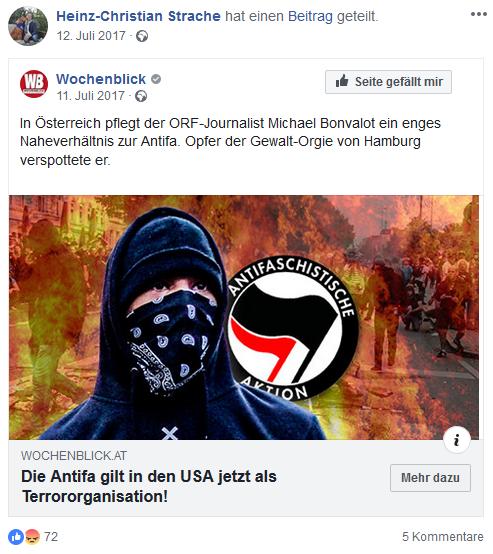 """Straches Fakemeldung Nummer 3 vom """"Wochenblick"""" über (nicht vorhandene) Einstufung der Antifa als Terrororganisation"""