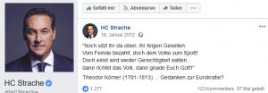 Screenshot Strache mit Fake-Zitat von Körner