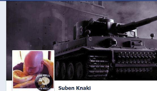 """FB-Profil Suben Knaki alias Jürgen W. mit Sticker """"Freiheit für Wolle"""" (Wolle = NSU-Unterstützer Ralf Wohlleben)"""