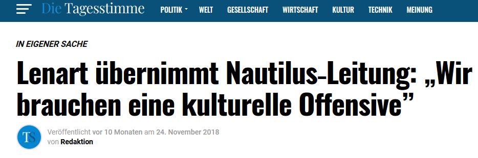 """Die identitäre """"Tagesstimme"""" verkündet im Oktober 2018, dass Lenart die """"Nautilus-Leitung"""" übernimmt."""